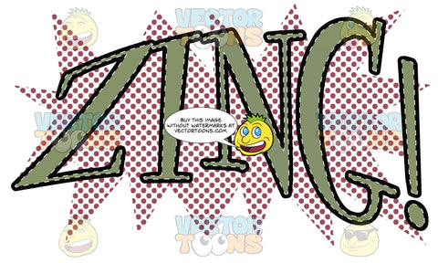 Comic Cartoon Word 'Zing!' In Green With Purple Halftone Dots In Background