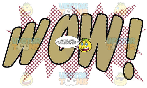 Comic Cartoon Word 'Wow!' In Tan With Orange Halftone Dots In Background