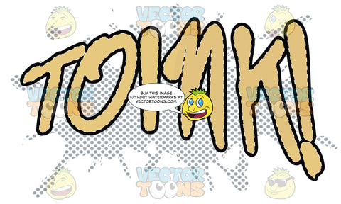 Comic Cartoon Word 'Toink!' In Yellow With Blue Dots In Background
