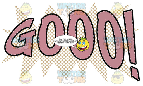 Comic Cartoon Word 'Gooo!' In Pink With Orange Dots In Background
