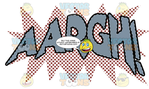 Comic Cartoon Word 'Aargh!' In Blue With Red Splatter Dots In Background