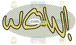 Comic Cartoon Word 'Wow!' In Yellow With Green Splatter Dots In Background