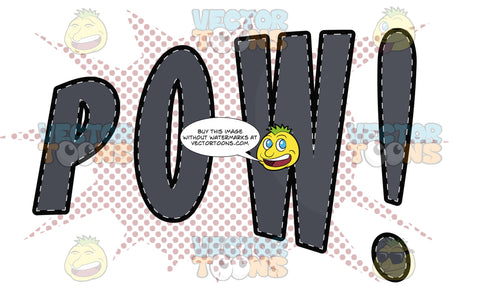 Comic Cartoon Word 'Pow!' In Grey With Purple Splatter Dots In Background