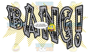 Comic Cartoon Word 'Bang!' In Grey With Green Dots In Background