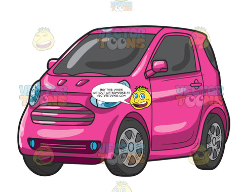 A Pink Compact Car