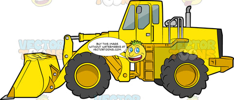 A Front Loader. A yellow construction vehicle with flour big dark gray tires, and a front loader