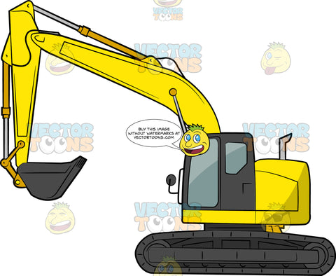 Hydraulic Excavator. A big construction vehicle with yellow and black body paint, black tracks via wheels, and a front bucket