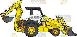 Backhoe Loader. A heavy construction vehicle with yellow and black body paint, two big tires, two smaller wheels, a front loader as well as a back bucket