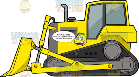 Crawler Bulldozer. A heavy construction vehicle with yellow and gray body paint, pipe exhaust, gray tracks via wheels, and a front mounted blades to move materials