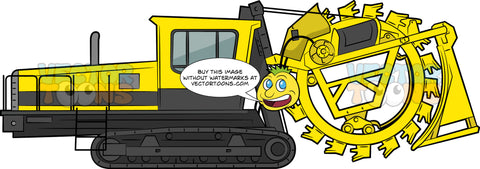 Bucket Wheel Excavator. A large construction vehicle with yellow and black body paint, black tracks via wheels, and a big yellow wheel with sharp tooth used for excavating