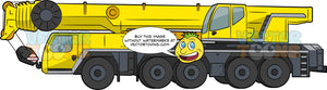 Mobile Hydraulic Crane. A big construction vehicle with yellow and black body paint, ten wheels and tires, and a long hydraulic bar with a heavy hook at the end