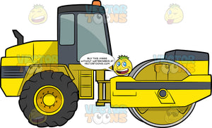 Road Roller. A heavy construction vehicle with yellow and gray body paint, a wide and smooth roller at the back, and two big wheels in front