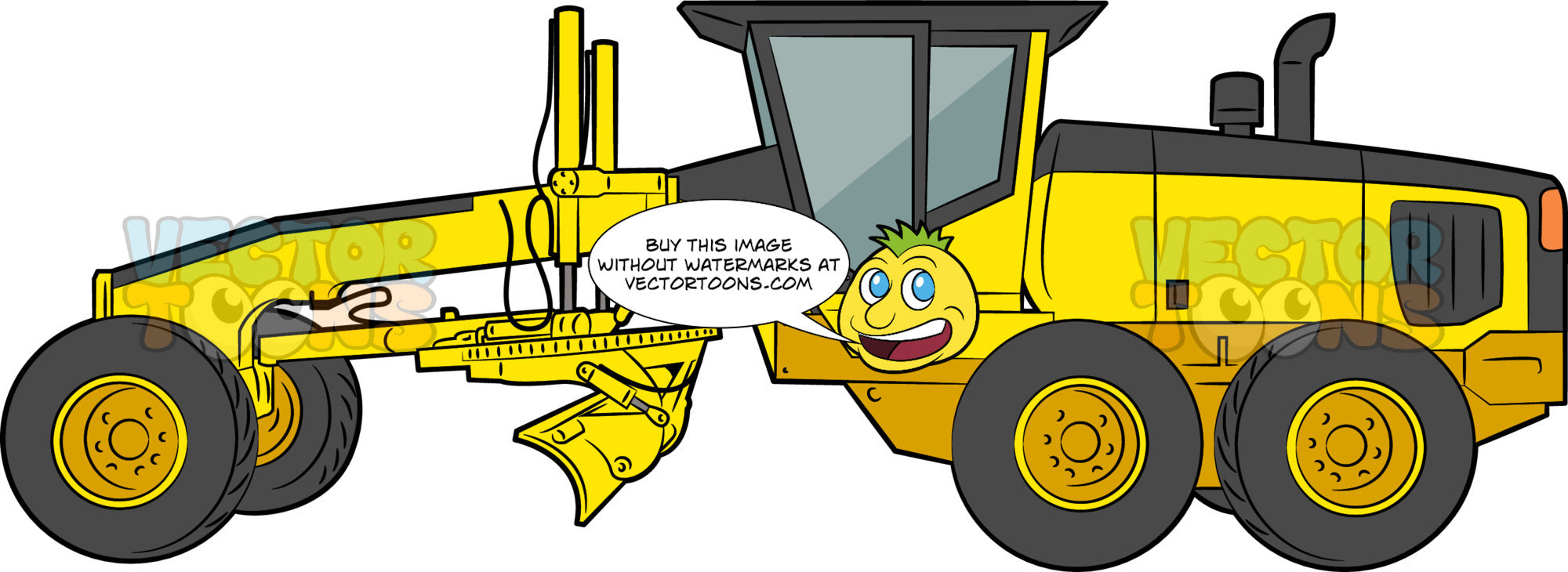 A Motor Grader. A heavy construction vehicle with yellow and black body paint, six wheels and tires, a long blade used to create a flat surface on the pavement during a grading process