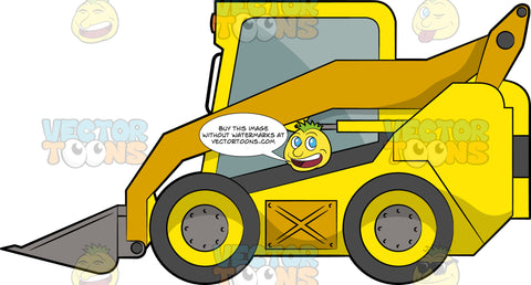 Mini Loader. A construction vehicle with a yellow and dark gray body paint, four wheels, a mini front loader with long arms that extends to the back of the vehicle