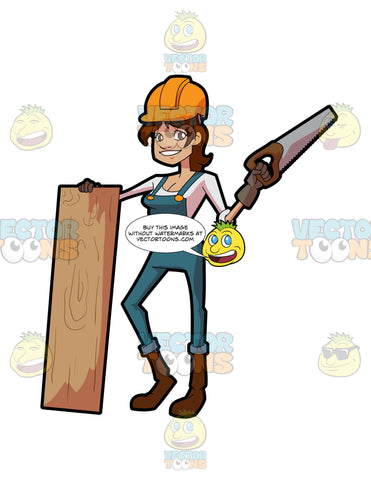 A Female Construction Worker Poses With A Slab Of Wood And Saw
