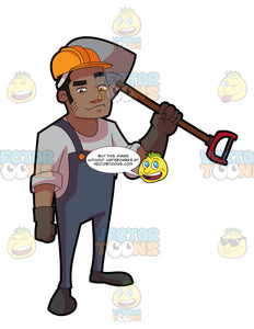 A Black Male Construction Worker With A Shovel