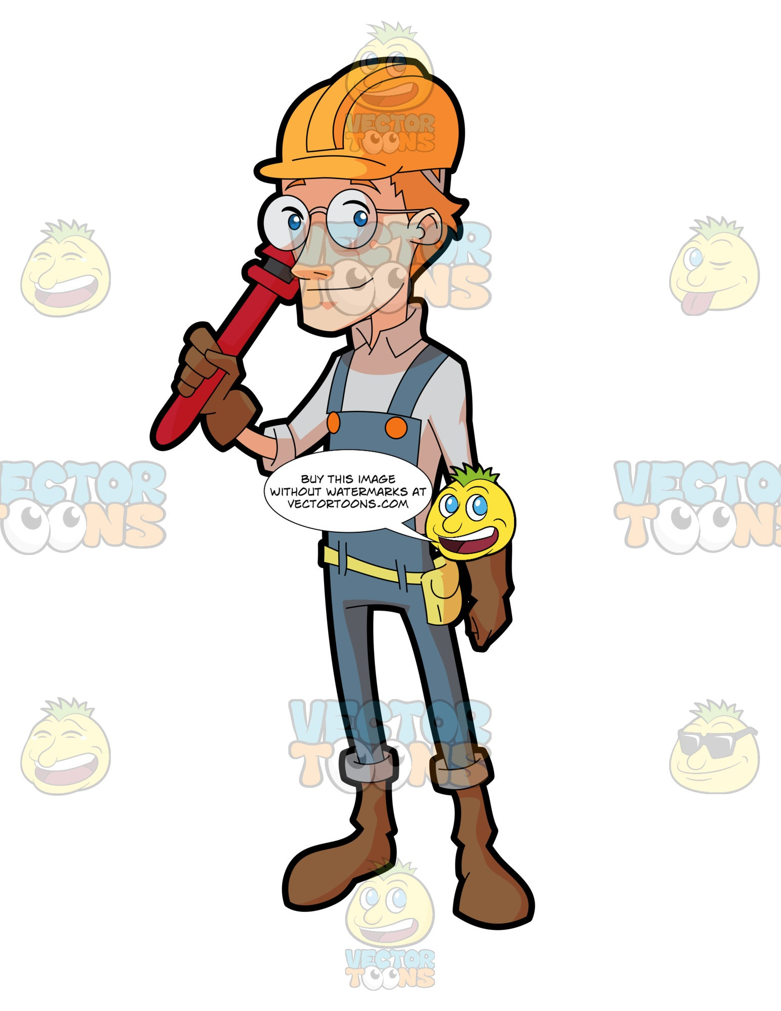 A Male Construction Worker Holding A Plumbing Wrench
