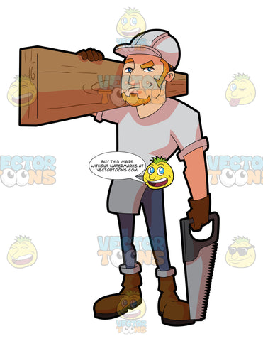 A Male Construction Worker Carrying A Slab Of Wood