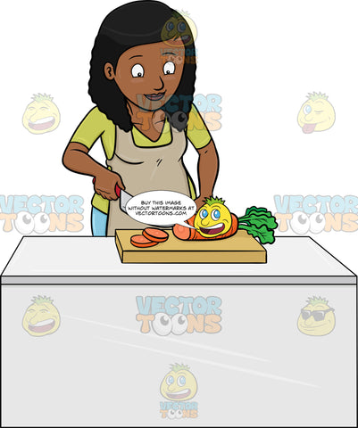 A Black Woman Chopping Carrots