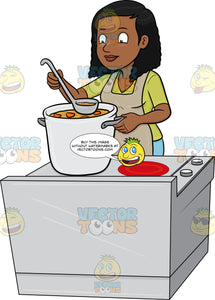 A Black Woman Tasting Her Homemade Soup
