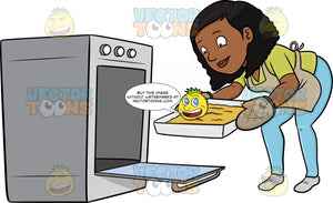 A Black Woman Removing A Hot Tray Out Of The Oven