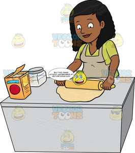 A Black Woman Flattening A Dough With A Rolling Pin