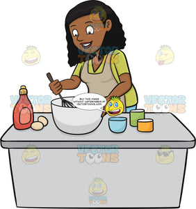 A Black Woman Enjoys Mixing The Cake Batter