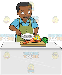 A Black Man Chopping Carrots