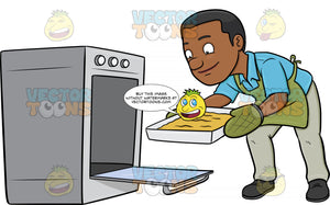 A Black Man Removing A Hot Tray Out Of The Oven