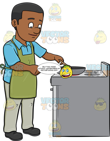A Black Man Sauteing Several Ingredients On A Pan