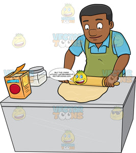 A Black Man Flattening A Dough With A Rolling Pin