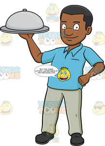 A Black Man Carrying A Surprise Food Hidden Under The Dish Cover