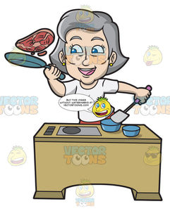 A Mature Woman Tossing A Steak In The Pan