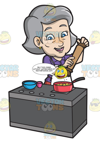 A Mature Woman Adding Pepper To Her Cooking Dish