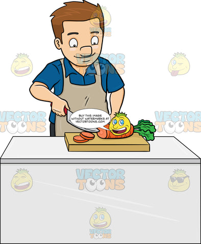 A Man Chopping Carrots