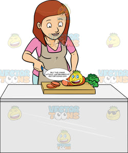 A Woman Chopping Carrots