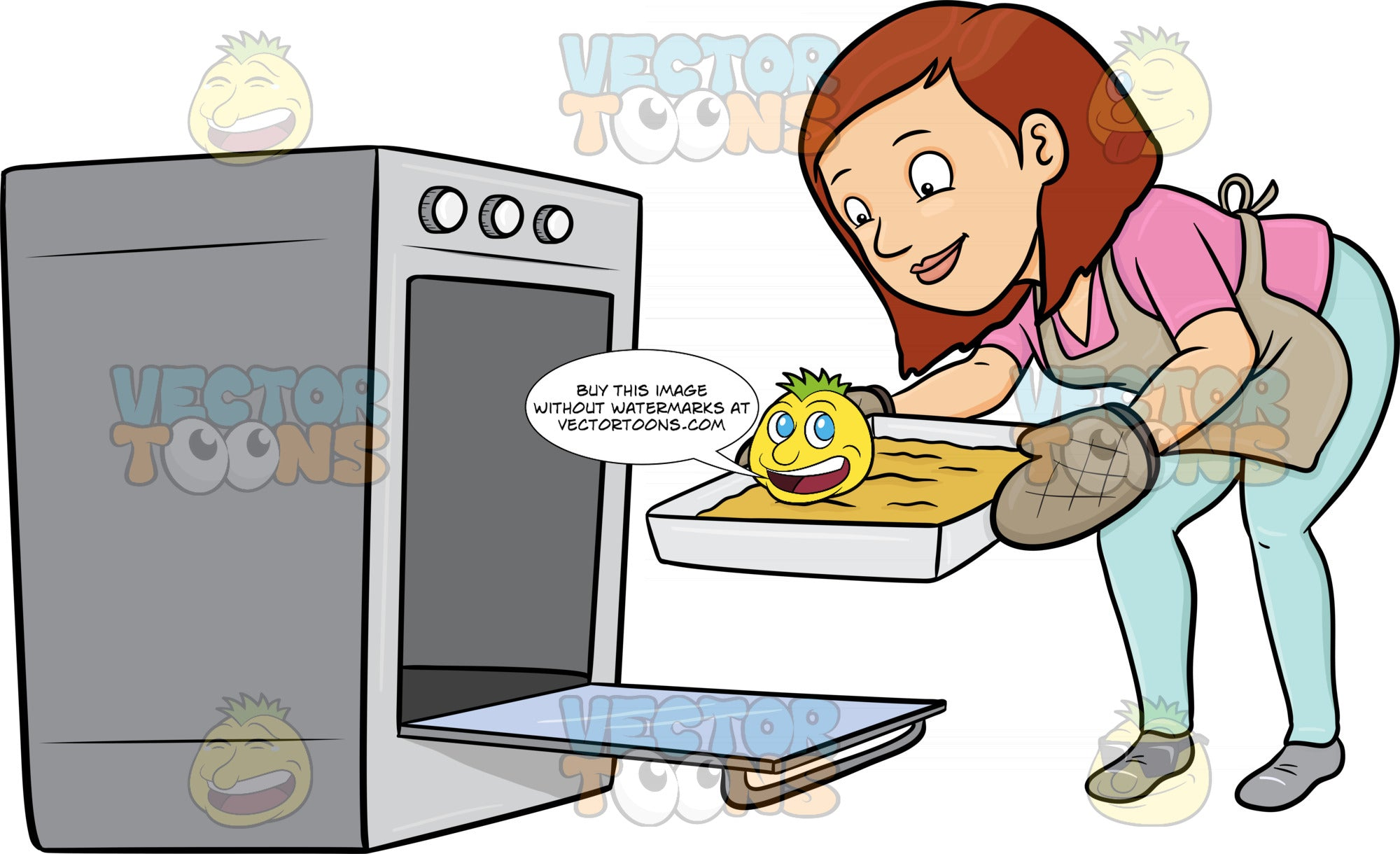 A Woman Removing A Hot Tray Out Of The Oven