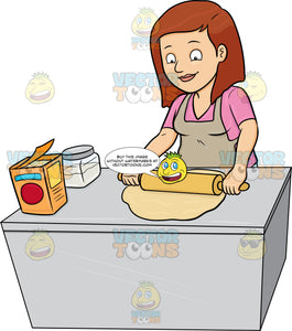 A Woman Flattening A Dough With A Rolling Pin