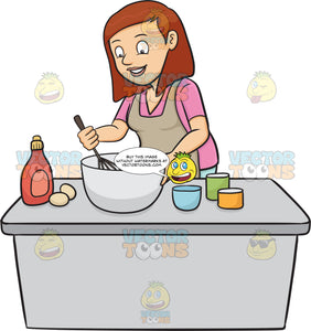 A Woman Enjoys Mixing The Cake Batter