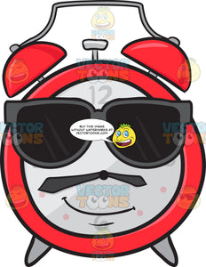 Cool Looking Alarm Clock Wearing Sunglasses Emoji