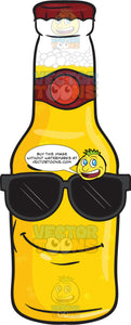 Cool Looking Bottle Of Beer Wearing Sunglasses Emoji