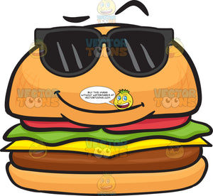 Cool Looking Cheeseburger Wearing Shades