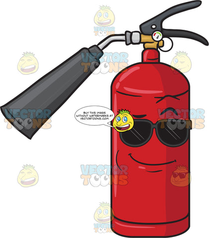 Cool Looking Fire Extinguisher Wearing Sunglasses Emoji
