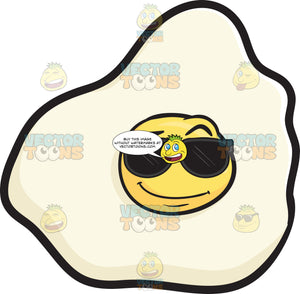 Cool Looking Sunny Side Up Egg Wearing Sunglasses Emoji