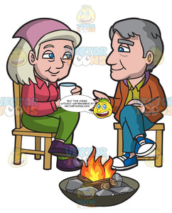 An Sweet Old Couple Sitting Together By The Campfire