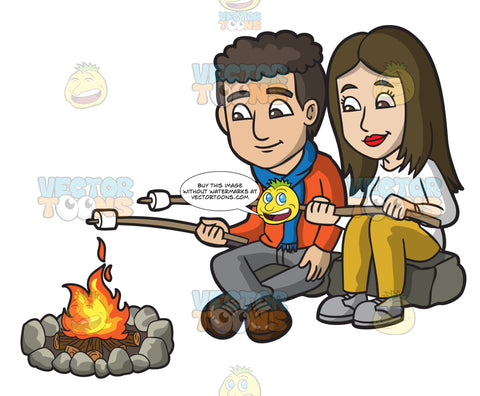 A Couple Roasting Marshmallows By The Campfire