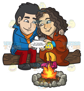 A Sweet Couple Warming Up Themselves By The Campfire