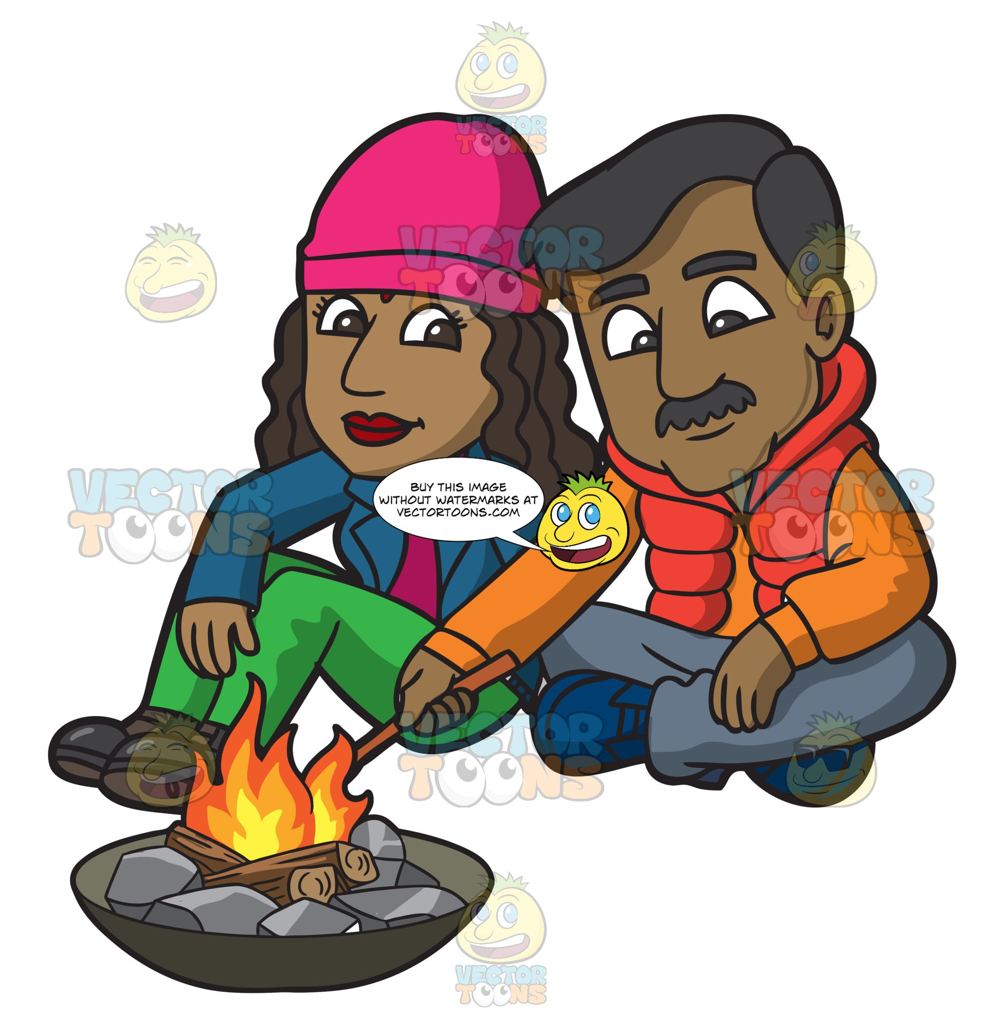 An Indian Couple Sitting By The Campfire