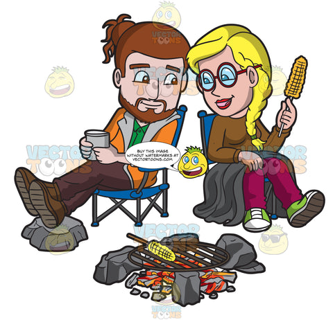 A Hipster Couple Eating Corn By The Campfire
