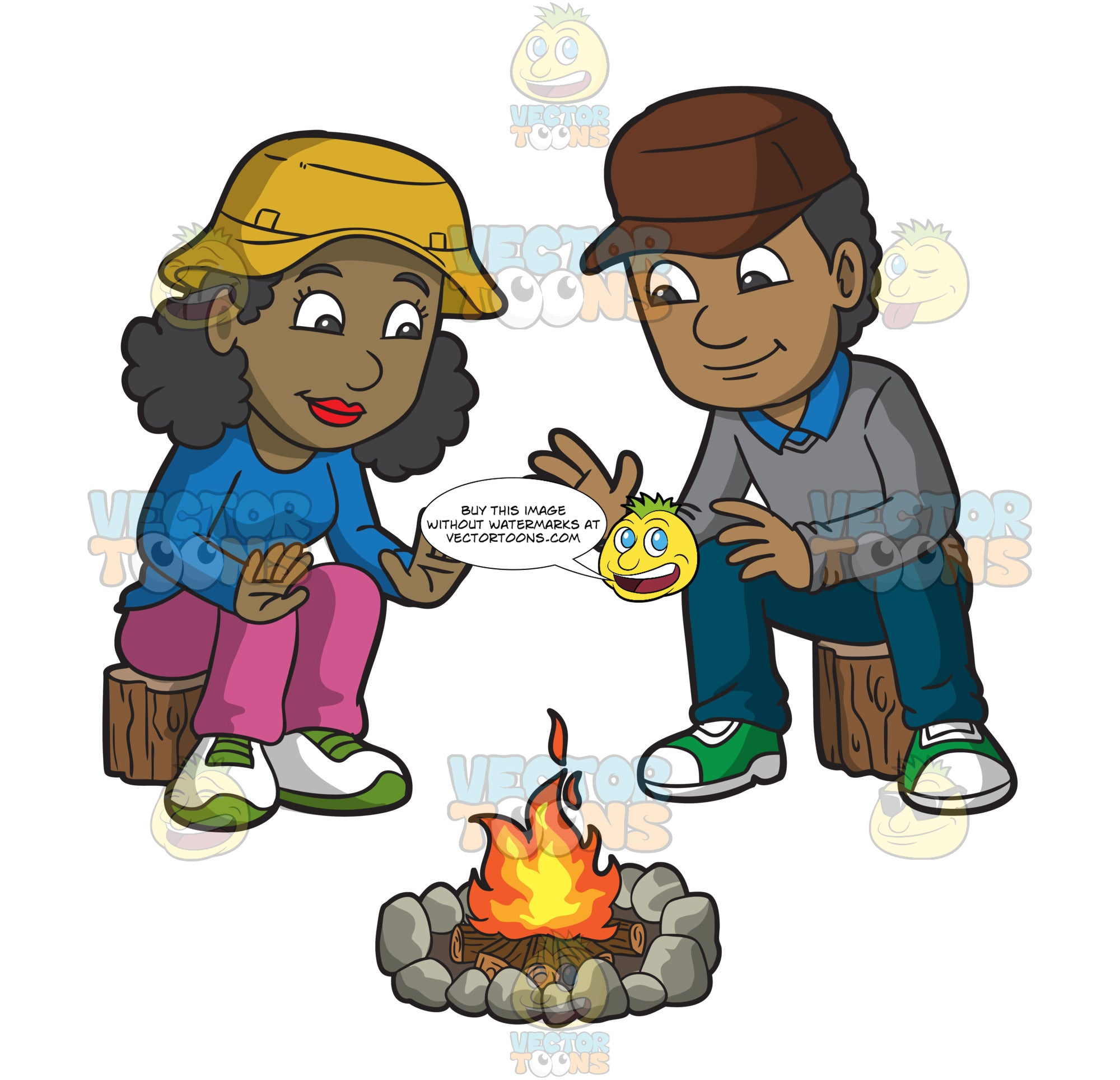 A Couple Warming Themselves By The Campfire
